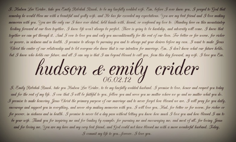Wedding vows hudson and emily our wedding vows junglespirit Choice Image