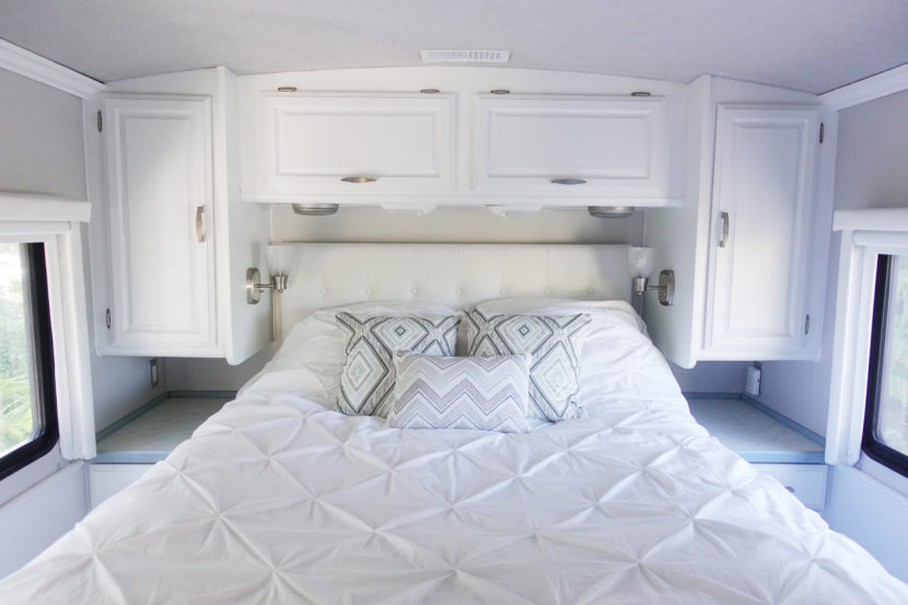 Our rv renovation hudson and emily - Trailer bedroom ideas ...